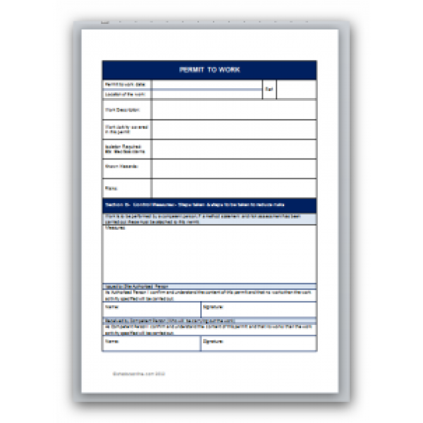 Permit to Work Template Permit to Work