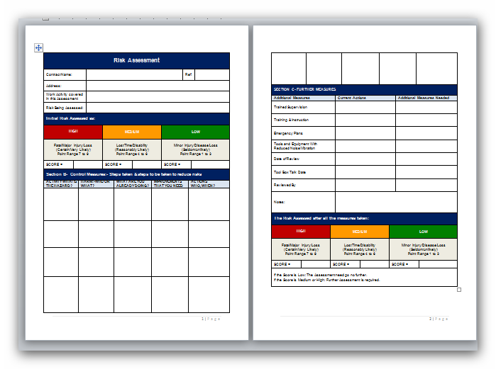 Blank Method Statement and Risk Assessment Template Pack – Free Risk Assessment Template